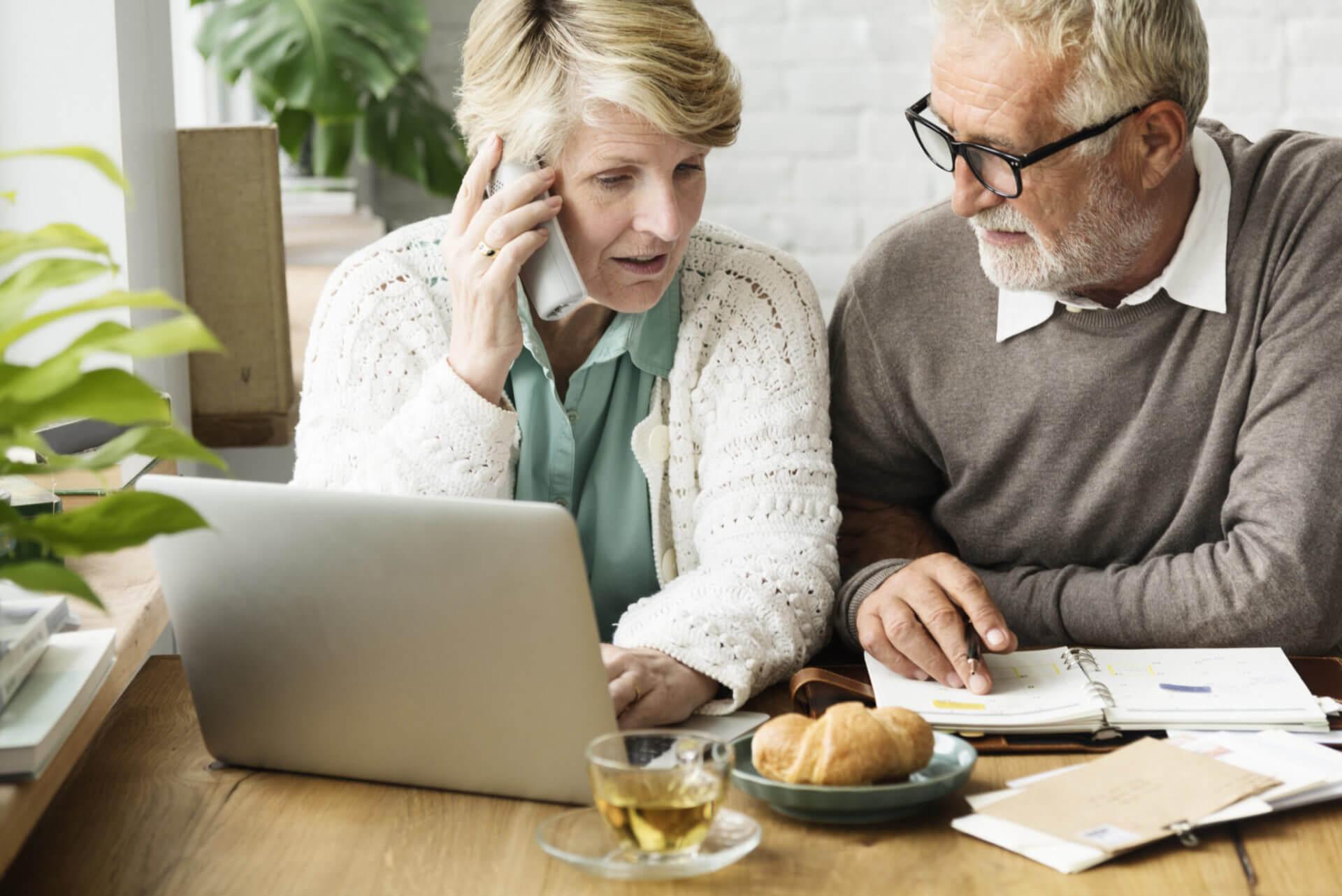 Senior Adult Using Laptop Notebook Concept