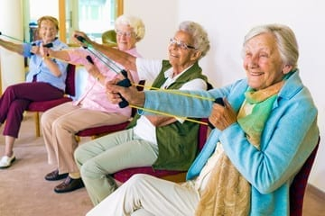 old womens playing games and enjoying